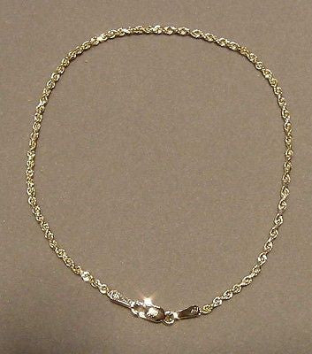 1.5MM SOLID 14K YELLOW GOLD DIAMOND CUT ROPE CHAIN BRACELET 7""
