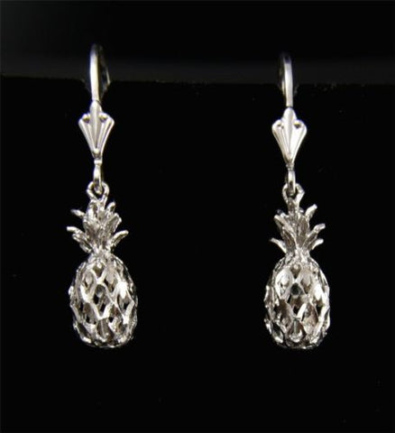 SOLID 14K WHITE GOLD HAWAIIAN DIAMOND CUT PINEAPPLE LEVERBACK EARRINGS 6.5MM