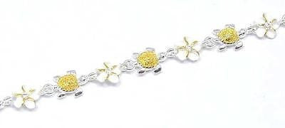 YELLOW GOLD PLATED 2T SILVER 925 HAWAIIAN BABY TURTLE 6MM PLUMERIA ANKLET 9 1/2""