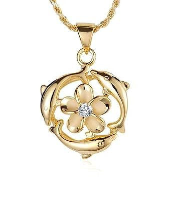 YELLOW GOLD PLATED SILVER 925 HAWAIIAN 9MM PLUMERIA FLOWER 3 DOLPHIN PENDANT
