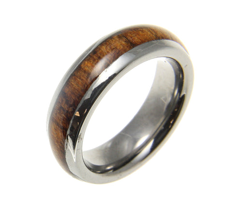 GENUINE INLAY HAWAIIAN KOA WOOD BAND RING TUNGSTEN COMFORT FIT DOME STYLE 6MM