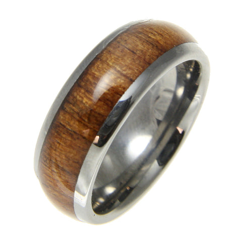 GENUINE INLAY HAWAIIAN KOA WOOD BAND RING TUNGSTEN COMFORT FIT DOME STYLE 8MM