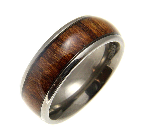 GENUINE INLAY HAWAIIAN KOA WOOD BAND RING TITANIUM COMFORT FIT DOME STYLE 8MM