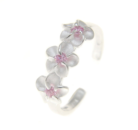 925 Sterling Silver Hawaiian Triple Plumeria Flower Pink CZ Open Toe Ring