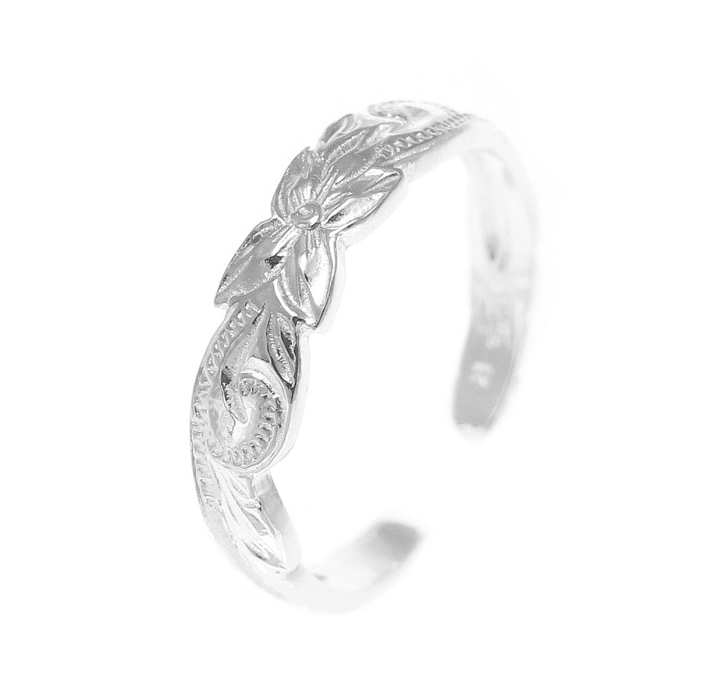 Sterling Silver 925 Hawaiian Cut Out Plumeria Flower Scroll Toe Ring Toe Rings Jewelry & Watches