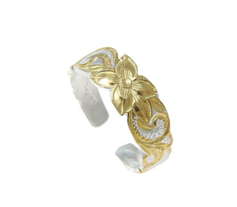 6MM YELLOW GOLD PLATED STERLING SILVER 925 HAWAIIAN PLUMERIA SCROLL TOE RING