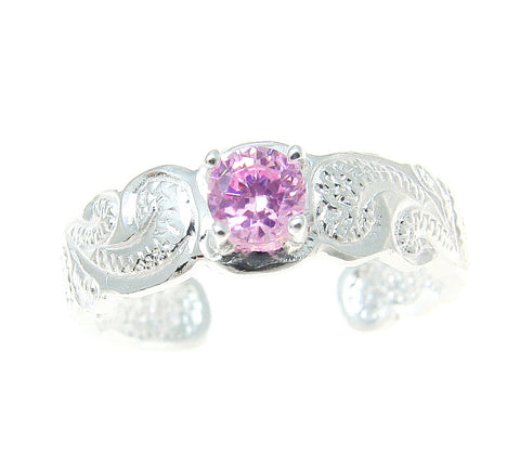 STERLING SILVER 925 HAWAIIAN SCROLL DESIGN CUT OUT TOE RING PINK CZ