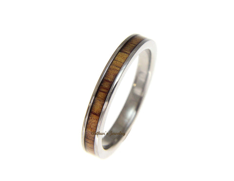 GENUINE INLAY HAWAIIAN KOA WOOD WEDDING BAND RING TITANIUM 3MM SIZE 3-14