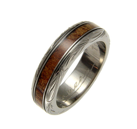 GENUINE INLAY HAWAIIAN KOA WOOD WEDDING BAND RING TITANIUM SCROLL 6MM SIZE 4-14