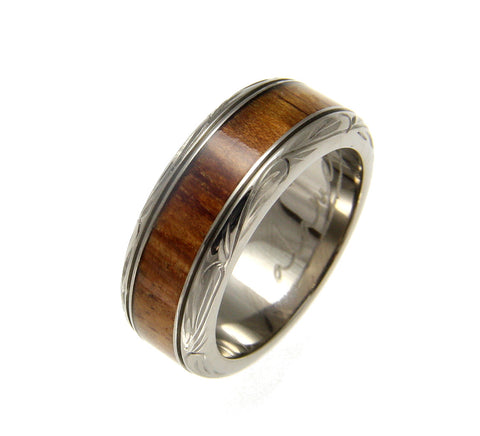 GENUINE INLAY HAWAIIAN KOA WOOD WEDDING BAND RING TITANIUM SCROLL 8MM SIZE 4-14