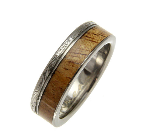GENUINE INLAY HAWAIIAN KOA WOOD WEDDING BAND RING TITANIUM SCROLL 6MM SIZE 3-14