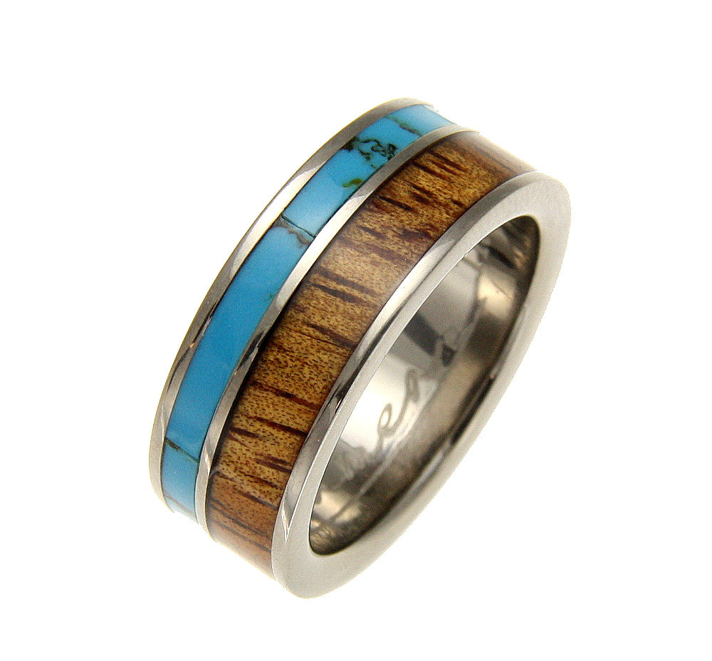 GENUINE INLAY HAWAIIAN KOA WOOD TURQUOISE WEDDING BAND RING TITANIUM 8MM SZ 8-12