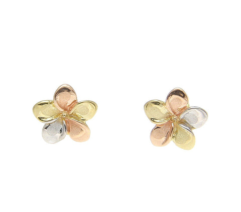 7MM SOLID 14K TRICOLOR GOLD HAWAIIAN FANCY PLUMERIA FLOWER STUD POST EARRINGS