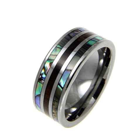 GENUINE INLAY HAWAIIAN KOA WOOD ABALONE SHELL BAND RING TUNGSTEN COMFORT FIT 8MM