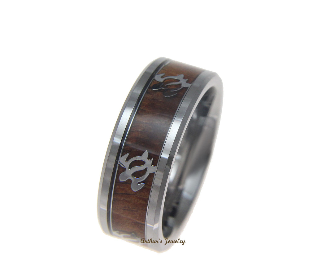 GENUINE INLAY HAWAIIAN KOA WOOD BAND RING HONU TURTLE TUNGSTEN COMFORT FIT 8MM