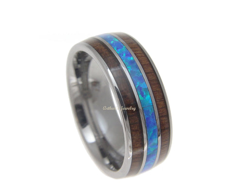 GENUINE INLAY HAWAIIAN KOA WOOD OPAL WEDDING BAND RING TUNGSTEN COMFORT FIT 8MM