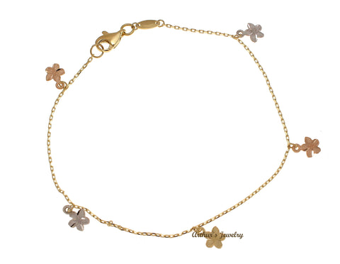 SOLID 14K YELLOW WHITE ROSE GOLD HAWAIIAN PLUMERIA FLOWER BRACELET LOBSTER CLASP