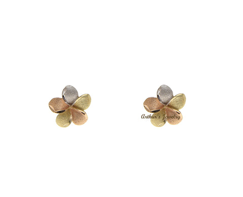 7MM SOLID 14K TRICOLOR GOLD HAWAIIAN PLUMERIA TROPICAL FLOWER STUD POST EARRINGS