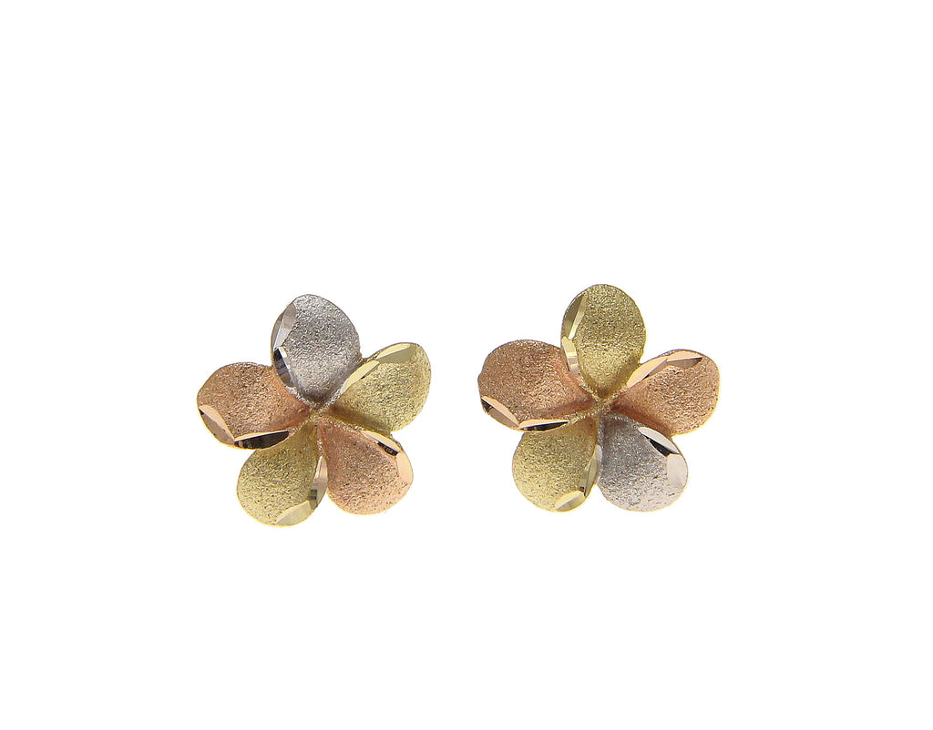 9MM 14K SOLID TRICOLOR YELLOW PINK WHITE GOLD HAWAIIAN PLUMERIA FLOWER EARRINGS