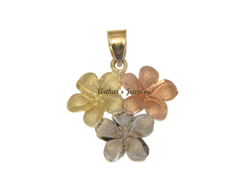 14K SOLID TRICOLOR GOLD HAWAIIAN PLUMERIA FLOWER CLUSTER PENDANT CHARM 19.15MM