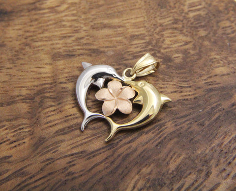 14K YELLOW ROSE WHITE TRICOLOR GOLD HAWAIIAN PLUMERIA FLOWER DOLPHIN PENDANT