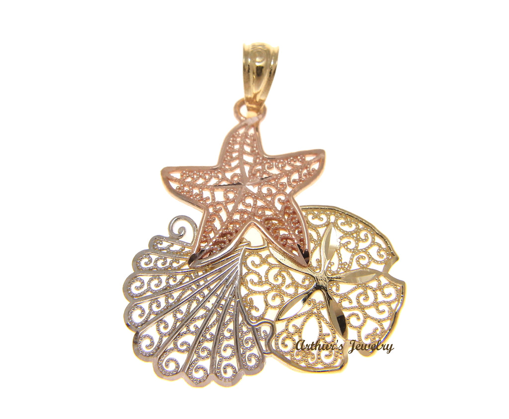 14K YELLOW WHITE ROSE GOLD HAWAIIAN STARFISH SHELL SAND DOLLAR FILIGREE PENDANT