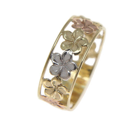 SOLID 14K YELLOW WHITE ROSE GOLD HAWAIIAN FANCY PLUMERIA FLOWER LEI RING 6.5MM