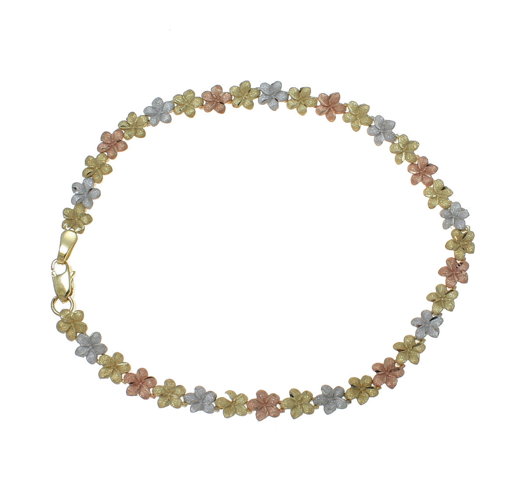 14K YELLOW WHITE ROSE TRICOLOR GOLD HAWAIIAN PLUMERIA FLOWER ANKLET 5.5MM 9""