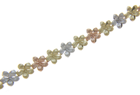 14K YELLOW WHITE ROSE TRICOLOR GOLD HAWAIIAN PLUMERIA FLOWER BRACELET 7MM 7""
