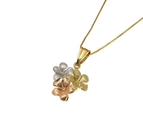 14K YELLOW PINK ROSE WHITE TRICOLOR GOLD HAWAIIAN PLUMERIA FLOWER CHARM PENDANT