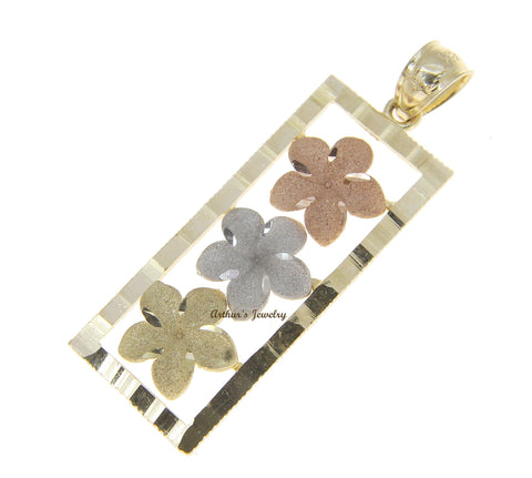 14K SOLID TRICOLOR GOLD HAWAIIAN PLUMERIA FLOWER VERTICAL PENDANT 12.35MM
