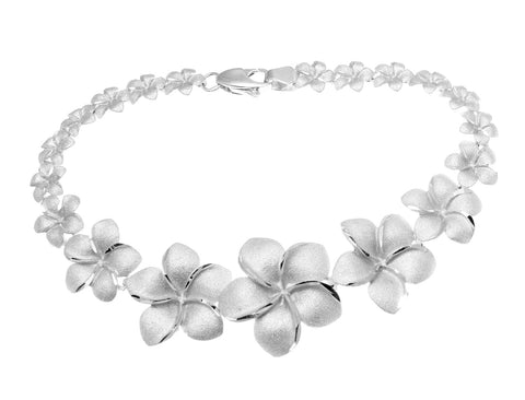 14K SOLID WHITE GOLD GRADUATED HAWAIIAN PLUMERIA FLOWER BRACELET 7 1/8 INCH