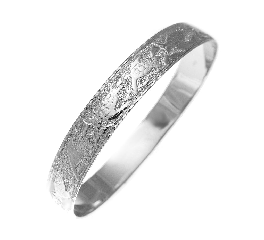 14K white gold custom made Hawaiian heirloom sea life honu dolphin quilt 12mm bangle