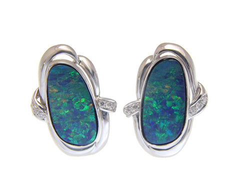 GENUINE AUSTRALIAN OPAL DIAMOND EARRINGS OMEGA BACK SOLID 14K WHITE GOLD 14.50MM