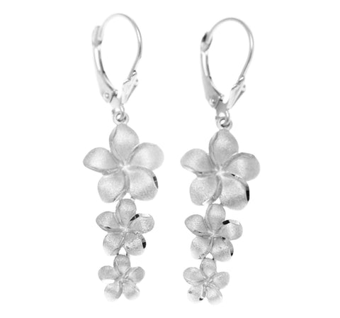 14K SOLID WHITE GOLD 3 HAWAIIAN PLUMERIA FLOWER EARRINGS LEVERBACK