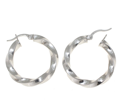 14K WHITE GOLD HIGH POLISH SHINY TWISTED ROUND HOOP EARRINGS SNAP CLOSURE 25.5MM