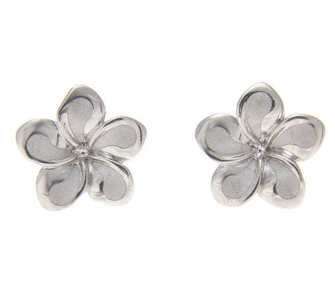 13MM SOLID 14K WHITE GOLD HAWAIIAN FANCY PLUMERIA FLOWER STUD POST EARRINGS