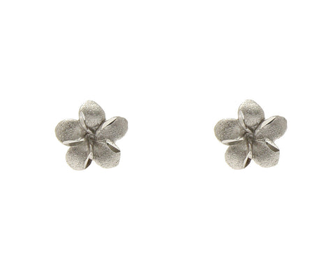 7MM 14K SOLID WHITE GOLD HAWAIIAN PLUMERIA TROPICAL FLOWER EARRINGS POST STUD