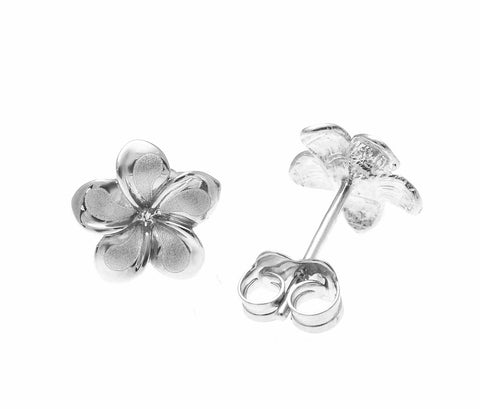 11MM SOLID 14K WHITE GOLD HAWAIIAN FANCY PLUMERIA FLOWER STUD EARRINGS
