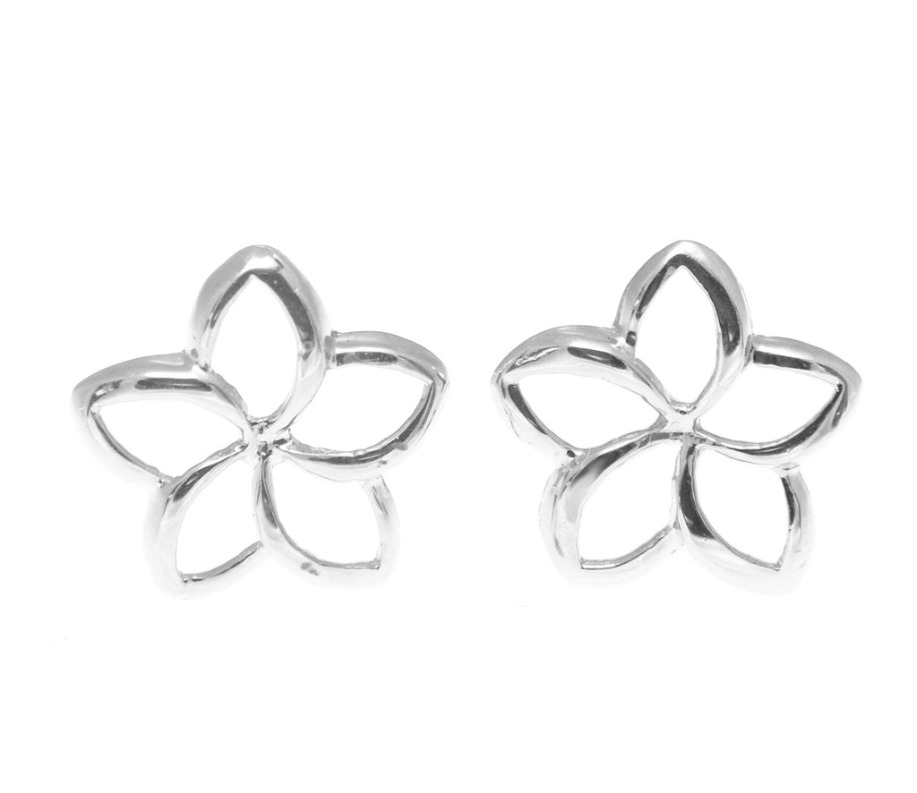 10MM 14K WHITE GOLD HAWAIIAN HIGH POLISH SHINY OPEN PLUMERIA FLOWER EARRINGS