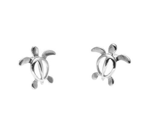 14K SOLID WHITE GOLD HAWAIIAN BABY PETRO HONU SEA TURTLE STUD POST EARRINGS