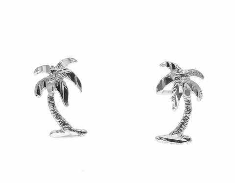 SOLID 14K WHITE GOLD SMALL HAWAIIAN DIAMOND CUT PALM TREE STUD POST EARRINGS