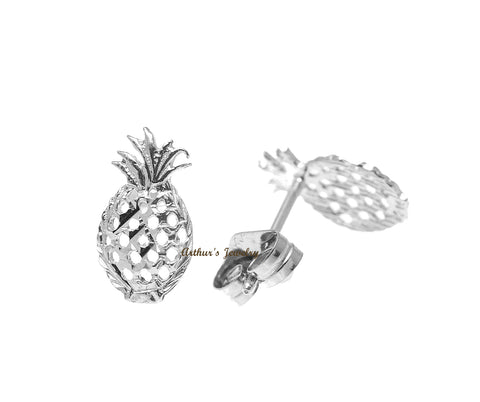 SOLID 14K WHITE GOLD HAWAIIAN DIAMOND CUT PINEAPPLE STUD EARRINGS SMALL 5.5MM