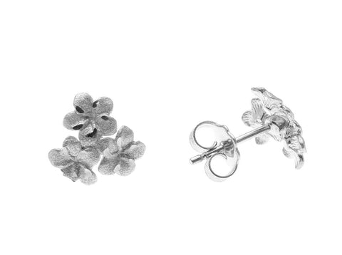 14K SOLID WHITE GOLD 8.5MM 3 HAWAIIAN PLUMERIA FLOWER CLUSTER POST STUD EARRINGS