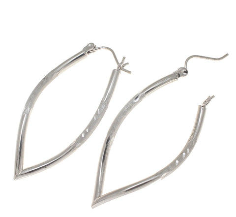 14K WHITE GOLD V TWIST HOOP EARRINGS DIAMOND CUT SNAP CLOSURE 18.40MM