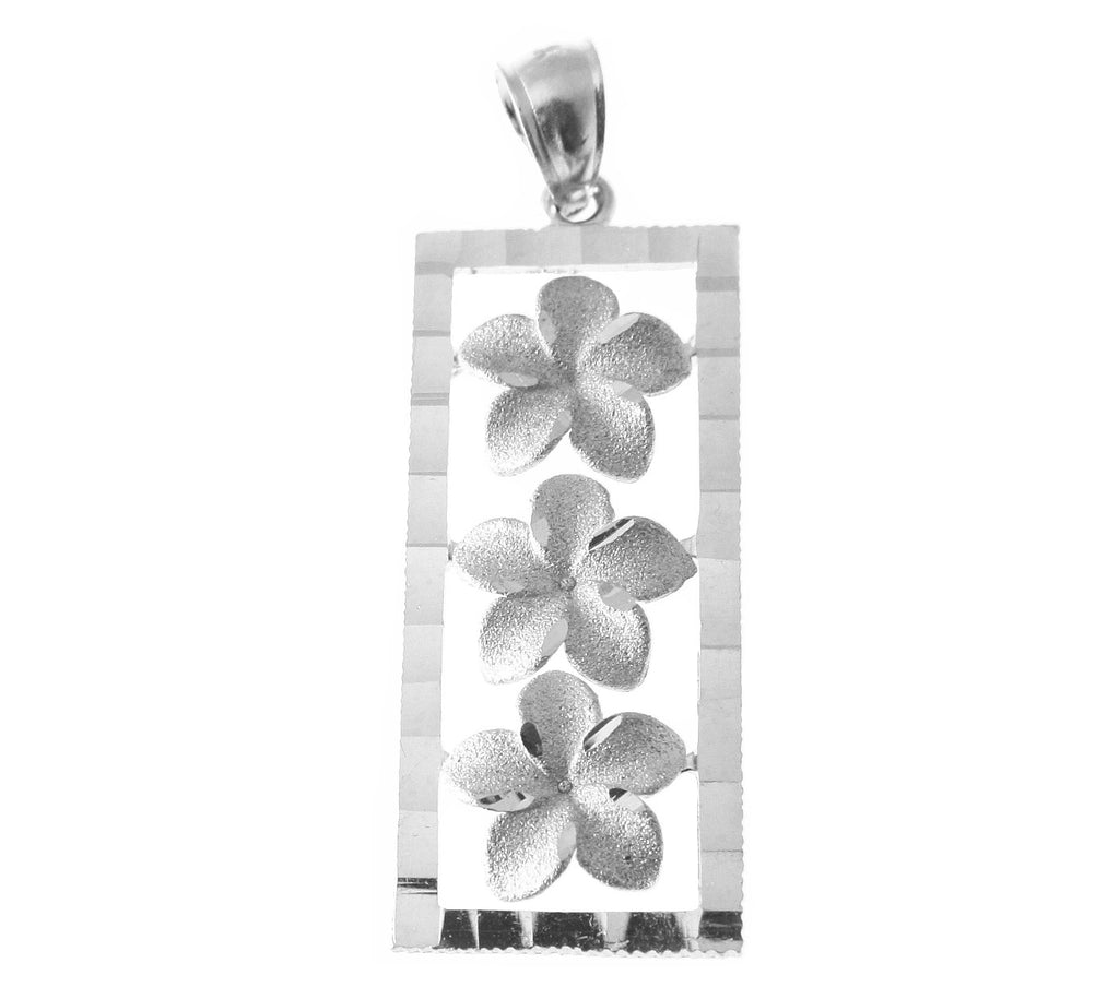 14K SOLID WHITE GOLD HAWAIIAN PLUMERIA FLOWER VERTICAL PENDANT 12.35MM