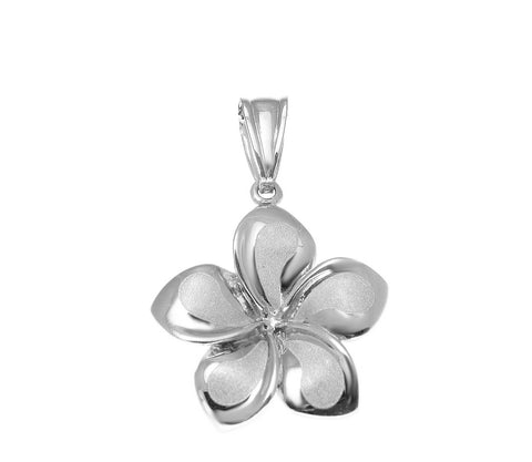 17MM SOLID 14K WHITE GOLD HAWAIIAN FANCY PLUMERIA FLOWER CHARM PENDANT
