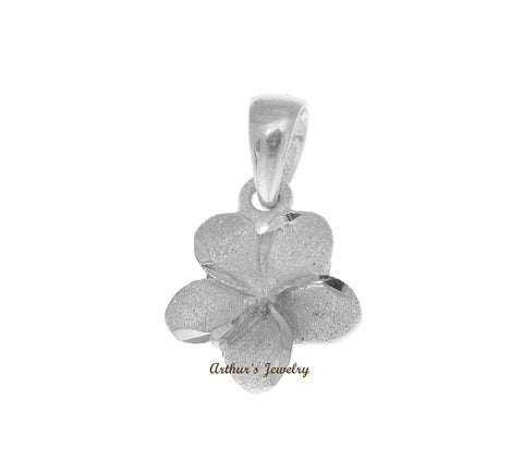 9MM SOLID 14K WHITE GOLD HAWAIIAN PLUMERIA TROPICAL FLOWER CHARM PENDANT