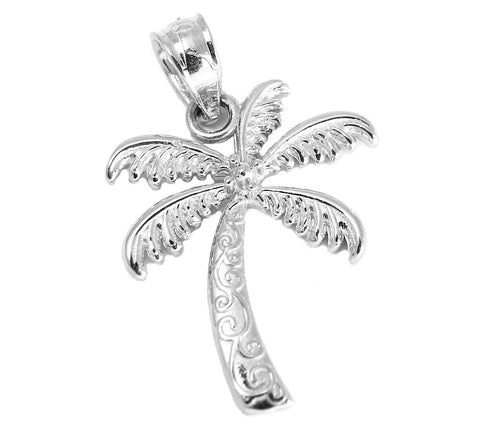 SOLID 14K WHITE GOLD HAWAIIAN SCROLL PALM TREE CHARM PENDANT SMALL 14MM
