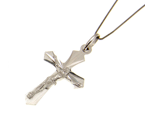 14K SOLID WHITE GOLD CROSS JESUS CHRIST CRUCIFIX RELIGIOUS PENDANT CHARM